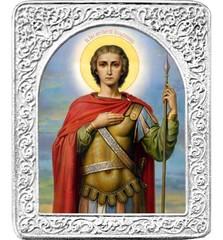 Святой Георгий. Маленькая икона в серебряной раме.