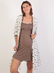 Евромама. Комплект халат и сорочка с лифом-корзинкой, молоко