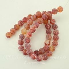 Бусина Агат цветочный матовый (тониров), шарик, цвет - коричневый, 8 мм, нить