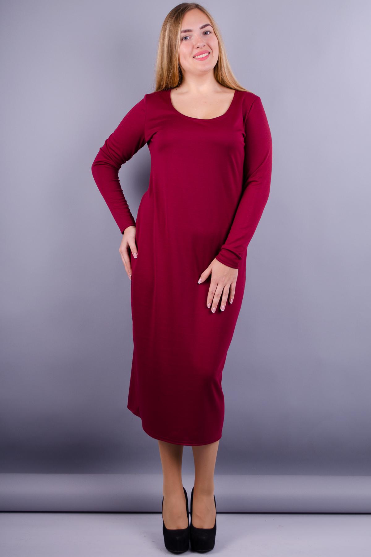 Мирослава француз. Платье больших размеров. Бордо. c73b3baea80bd