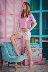 Пижама женская с шортами нежно-сиреневая