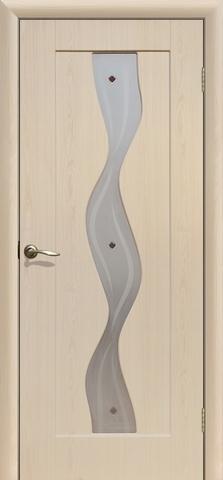 Дверь Сибирь Профиль Водопад, цвет беленый дуб, остекленная
