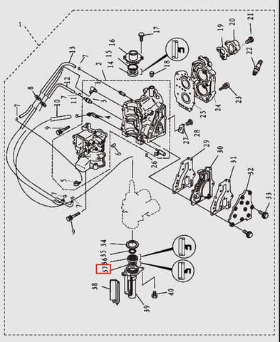 Сальник коленвала нижний 14x23x6 для лодочного мотора T9.8 Sea-PRO (2-37)