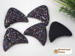 Мягкие глиттерные Ушки №3 черные