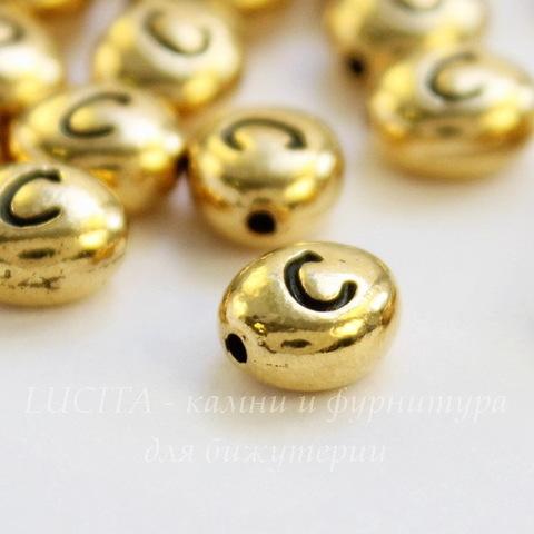 """Бусина овальная TierraCast """"Буква C"""" 7х6х3 мм (цвет-античное золото)"""