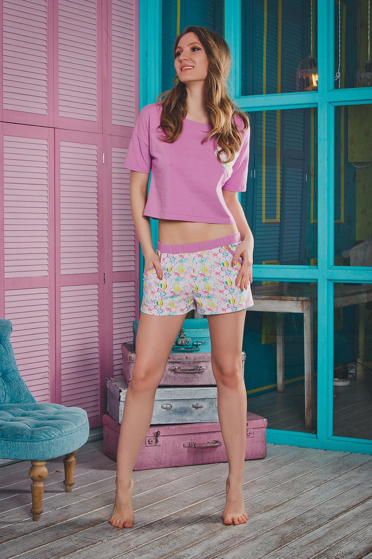 Пижама женская с шортами нежно-сиреневая (Женские пижамы)