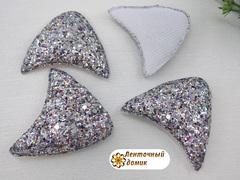 Мягкие глиттерные Ушки №3 серебряные