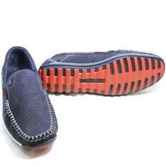 Молодежные мужские туфли на плоской подошве мокасины Faber 142213-7 Navy Blue.