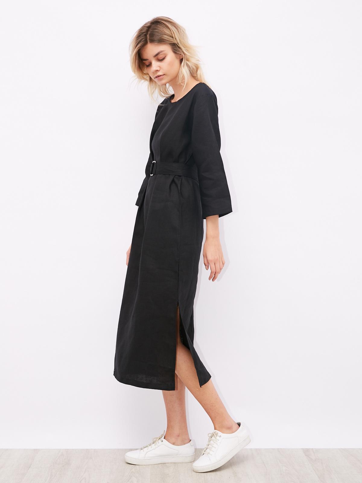 Платье льняное с поясом