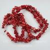 Бусина Коралл (тониров), крошка, цвет - красный, 5-11 мм, нить 86-88 см