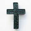"""Разделитель """"Крест"""" с зелеными и черными стразами 38х26х7 мм (цвет - черный никель)"""