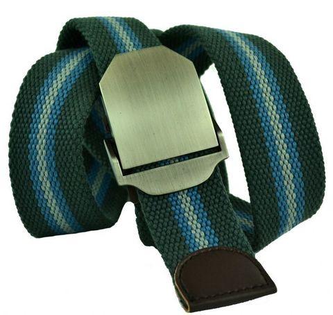 Ремень тканевый джинсовый мужской зелёный хаки с голубым стропа 4 см 40Stropa-045