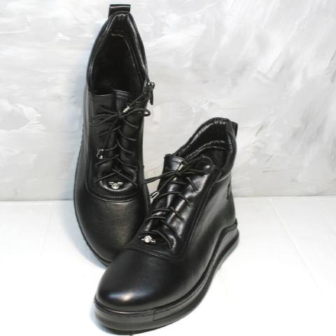 Кожаные кеды сникерсы женские демисезонные. Высокие черные кеды ботинки женские Evromoda 375 SA Black