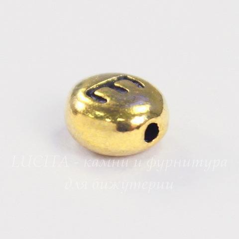 "Бусина овальная TierraCast ""Буква E"" 7х6х3 мм (цвет-античное золото)"