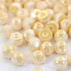 Бусина Hill Полусфера с огранкой, 6 мм, кремовая с золотистым