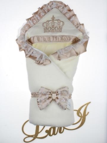 Велюровый конверт Одеяло Очарование (кремовый/капучино)