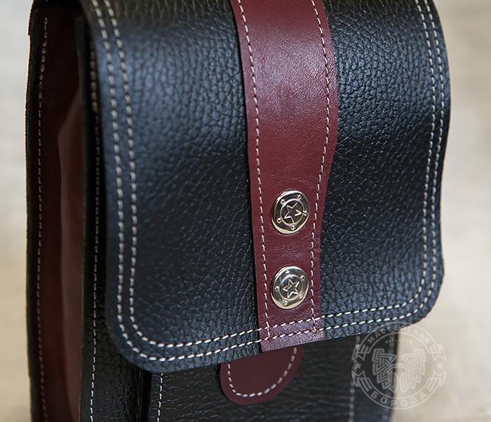 BAG379-3 Мужская сумка на пояс из натуральной кожи, ручная работа фото 02