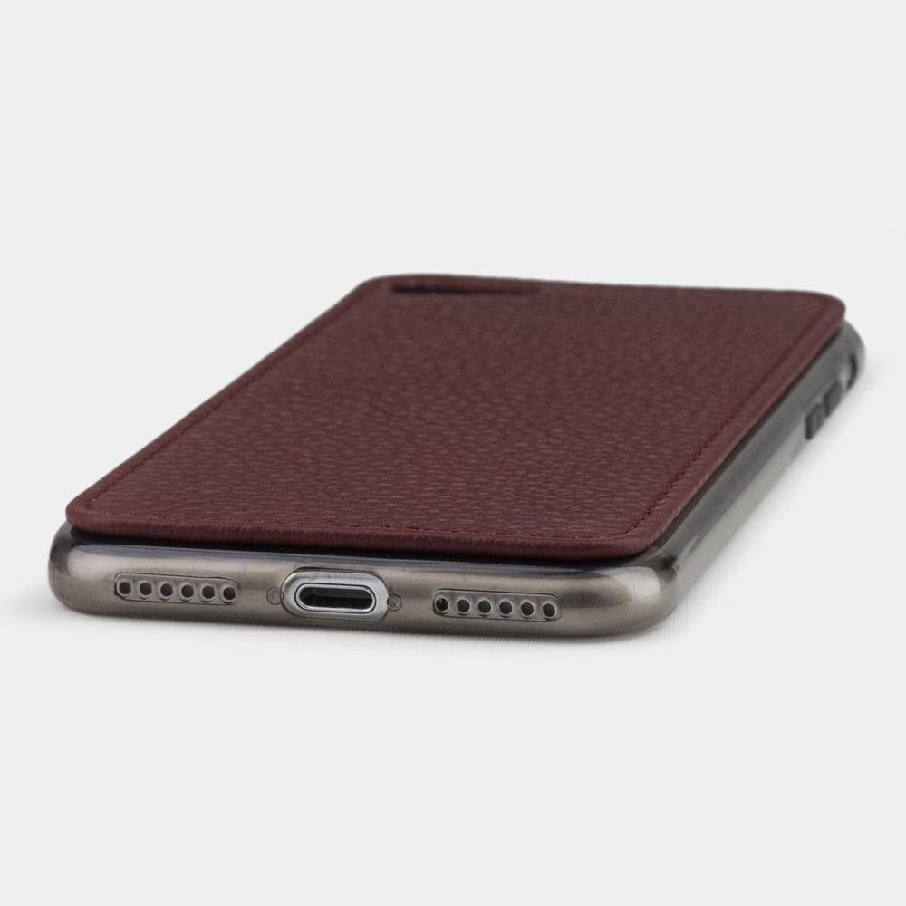 Чехол-накладка для iPhone 8 из натуральной кожи теленка, бордового цвета