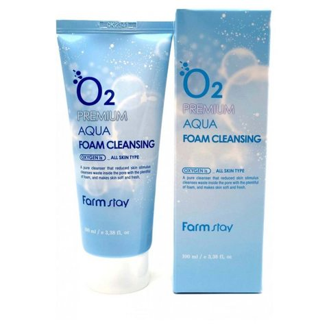 Farmstay O2 premium aqua foam cleansing 100ml Пенка очищающая  с кислородом,Farmstay, 100ml