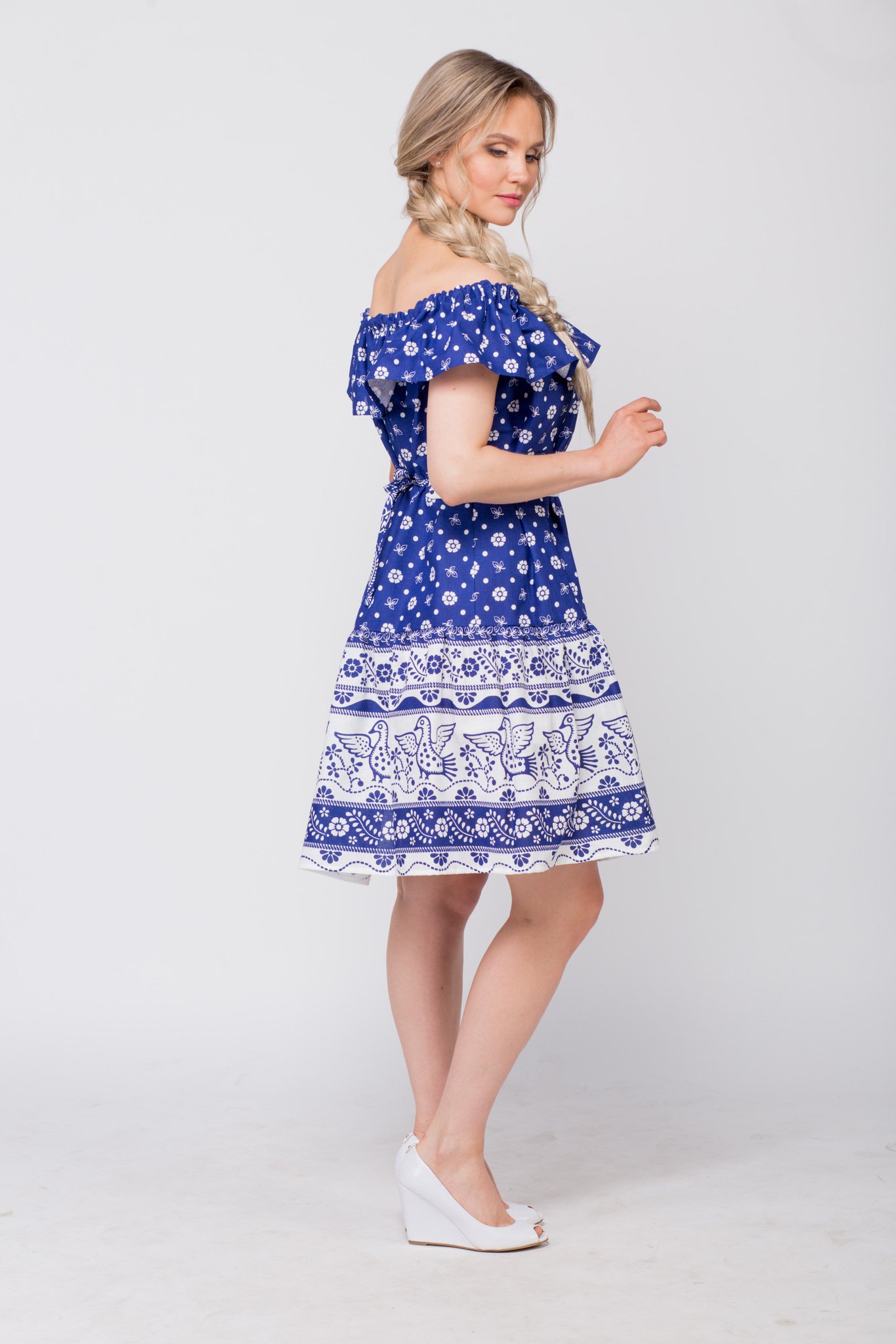 Платье льняное Жар-птица с поясом полубоком