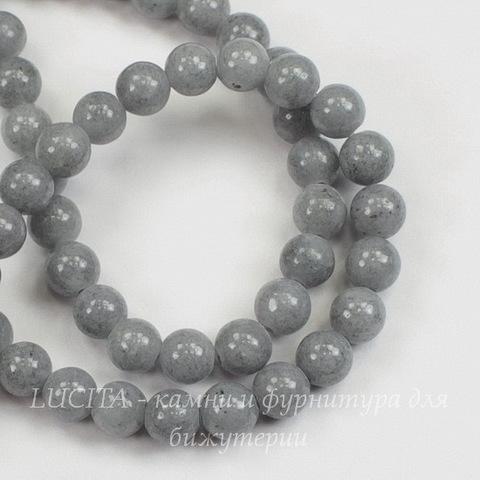 Бусина Жадеит, шарик, цвет - серый, 6 мм, нить