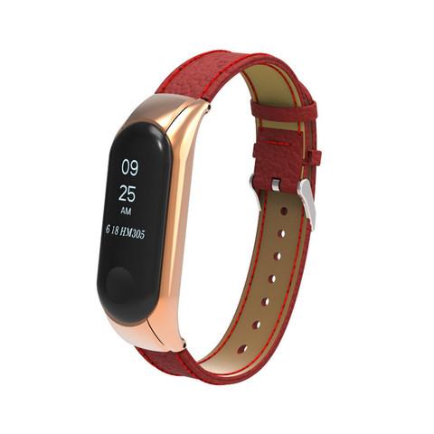 Браслет для Xiaomi Mi Band 3 красный (кожа)