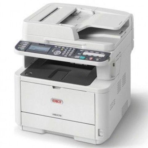 МФУ OKI MB472dnw - монохромная лазерная печать, формат А4, скорость 33 стр, автоподатчик и дуплекс, ethernet, wi-fi (45762102)