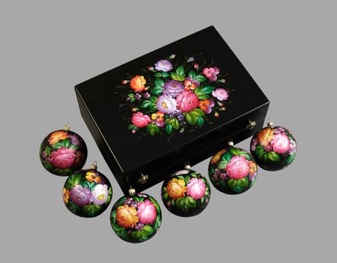 Набор из 6 елочных шаров в шкатулке SET04D-667785787