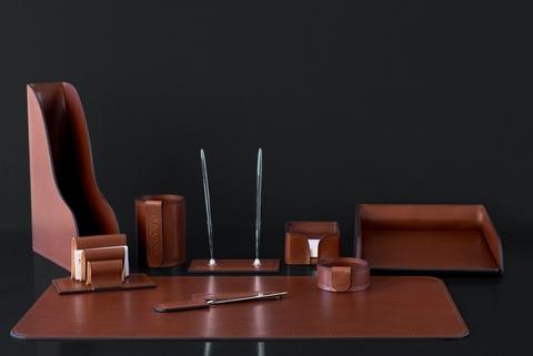 Настольный набор 9 предметов кожа Lux Full Grain Toscana, Dk.Таn