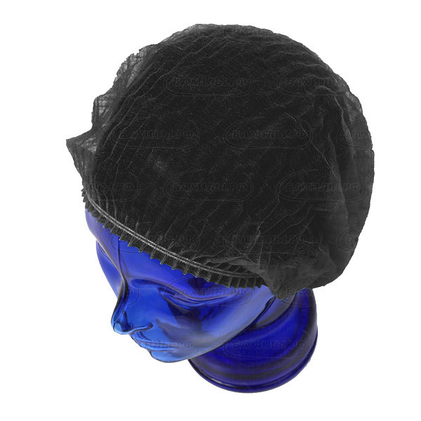 Одноразовая одежда, белье Шапочки одноразовые медицинские Шарлотта черная, 100 шт/уп шапочка-Шарлотта-черная.jpg