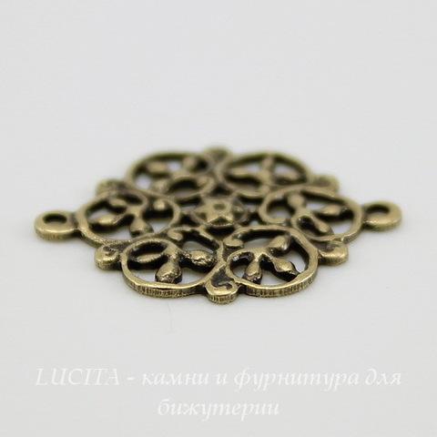 Винтажный декоративный элемент - коннектор - филигрань (1-1) 18х14 мм (оксид латуни) ()
