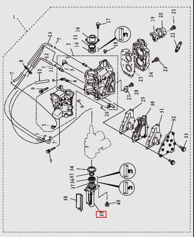 Корпус сальников коленвала для лодочного мотора T9.8 Sea-PRO (2-39)