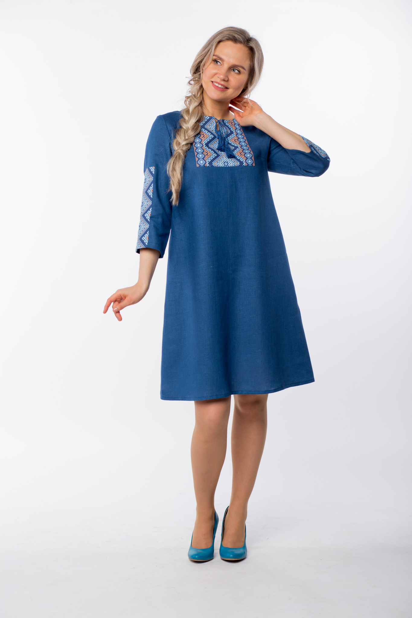 Платье льняное Морское