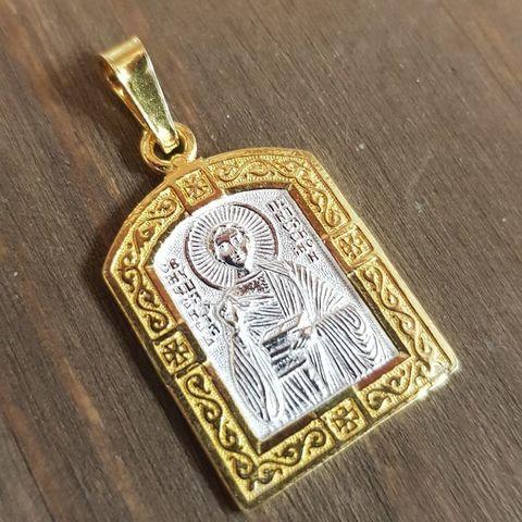 Нательная именная икона святой Пантелеимон с позолотой кулон с молитвой