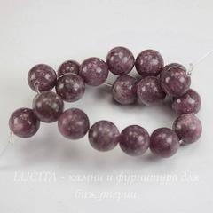 Бусина Турмалин (прессов), шарик, цвет - темный сиреневый, 10 мм, нить