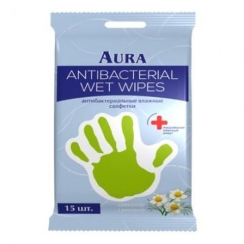Салфетки влажные AURA антибактериальные РОМАШКА 15шт.