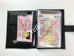 Обложка 2в1 для автодокументов и паспорта на застежке из натуральной кожи Флотер. Цвет Черный