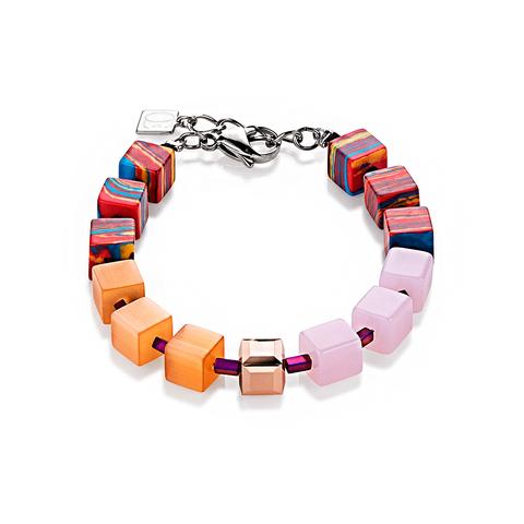Браслет Coeur de Lion 4799/30-0219 цвет оранжевый, розовый, красный, полосатый