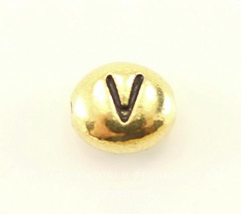 """Бусина овальная TierraCast """"Буква V"""" 7х6х3 мм (цвет-античное золото)"""