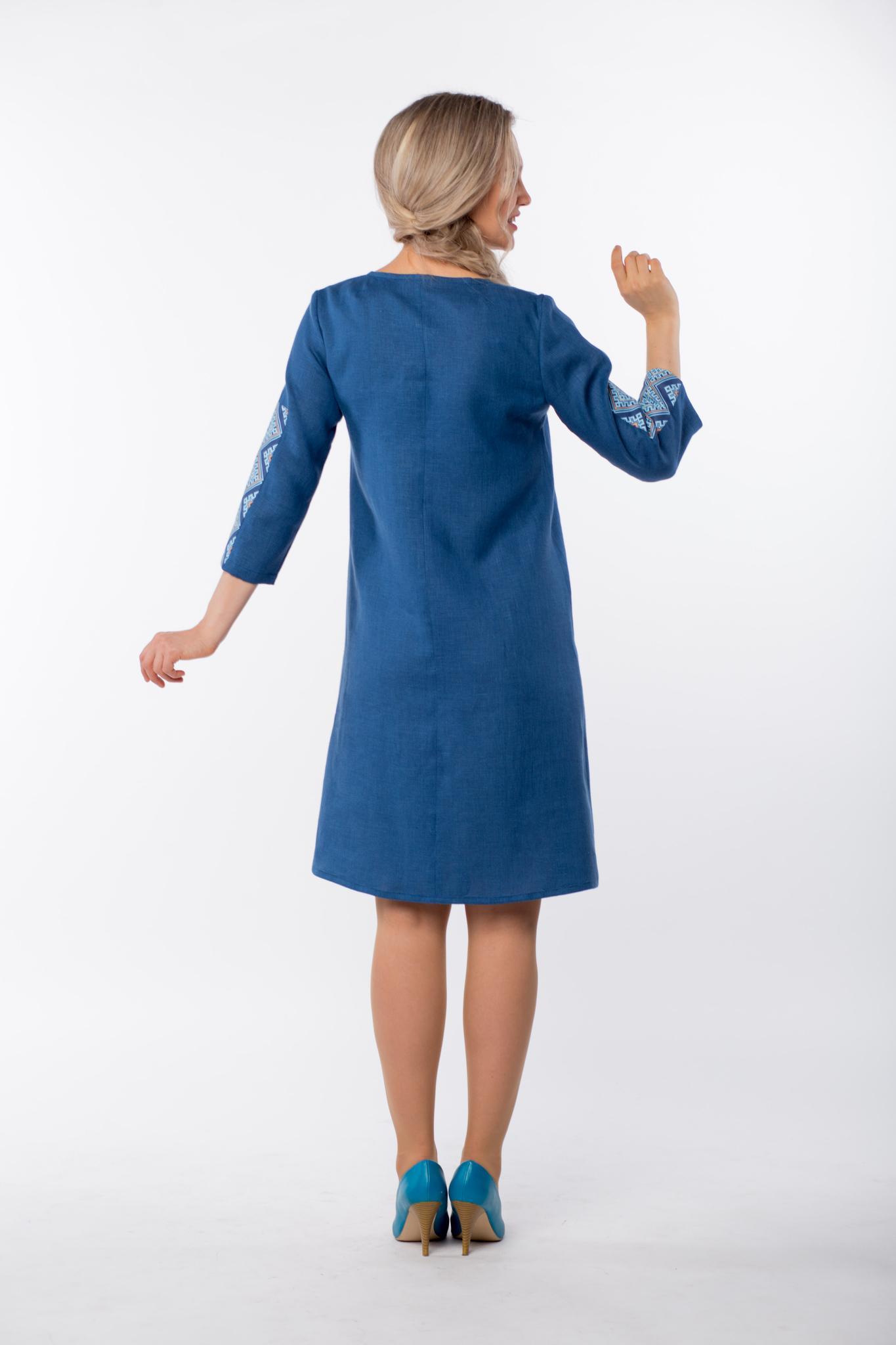 Платье льняное Морское вид сзади