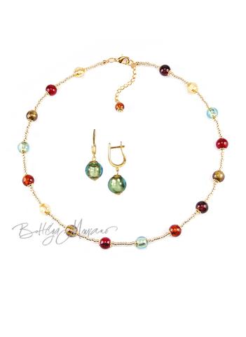 Комплект Carnavale Oro Piccolo (зеленые серьги на серебре, ожерелье)