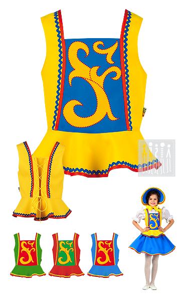 Жилет для девочки с баской для девочек старше пяти лет в четырех вариантах цвета. Размер жилета можно варьировать с помощью шнуровки на спине.