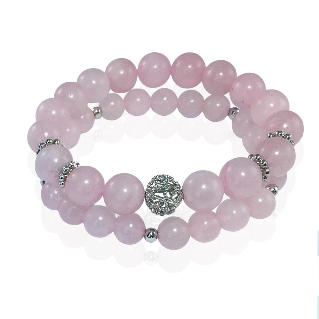 Купить со скидкой Комплект Forever Rose из 2-х браслетов из розового кварца с ажурными родированными вставками