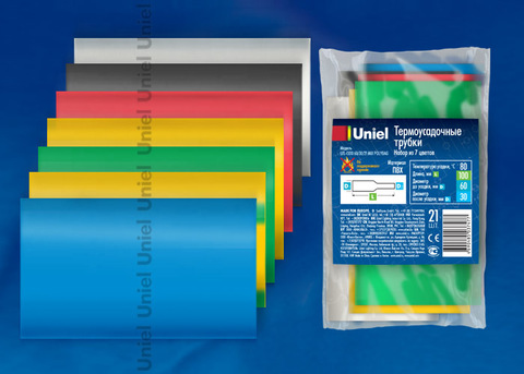 UIS-C010 60/30/21 MIX POLYBAG Термоусадочные трубки Uniel, диаметр до усадки 60мм, после усадки 30мм, длина 10 см, цвет — микс 7 цветов, 21 шт/пакет