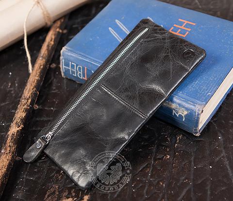 WL249-1 Мужской клатч из натуральной кожи черного цвета на молнии