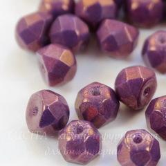Бусина Hill Полусфера с огранкой, 6 мм, фиолетовая с медным отливом