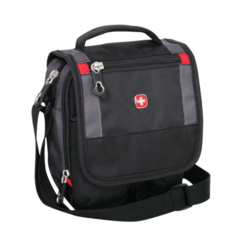 Сумка-планшет Wenger Mini Boarding Bag, для документов, черная/серая, 15х5х22 см