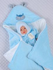 Зимний велюровый конверт одеяло на выписку Панда (голубой)
