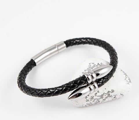 Необычный браслет шнур из черной кожи