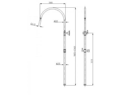 Душевая система Aksy Bagno Faenza  Fa410-2005-2001-Bronze колонна схема
